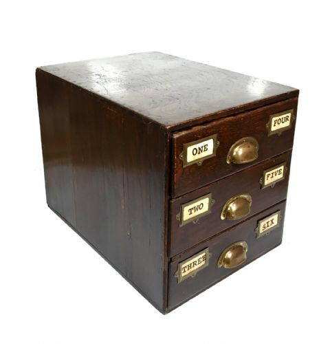 Antique Wooden Storage Index Card Drawers / Collectors Cabinet / Photo Postcards